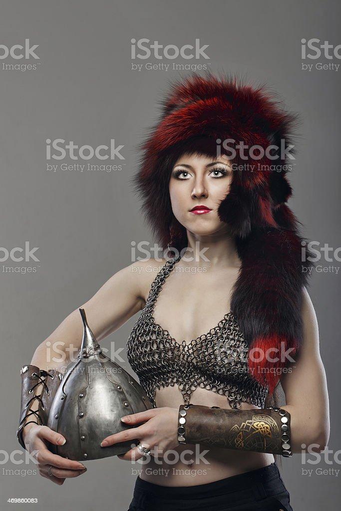 Girl warrior stock photo