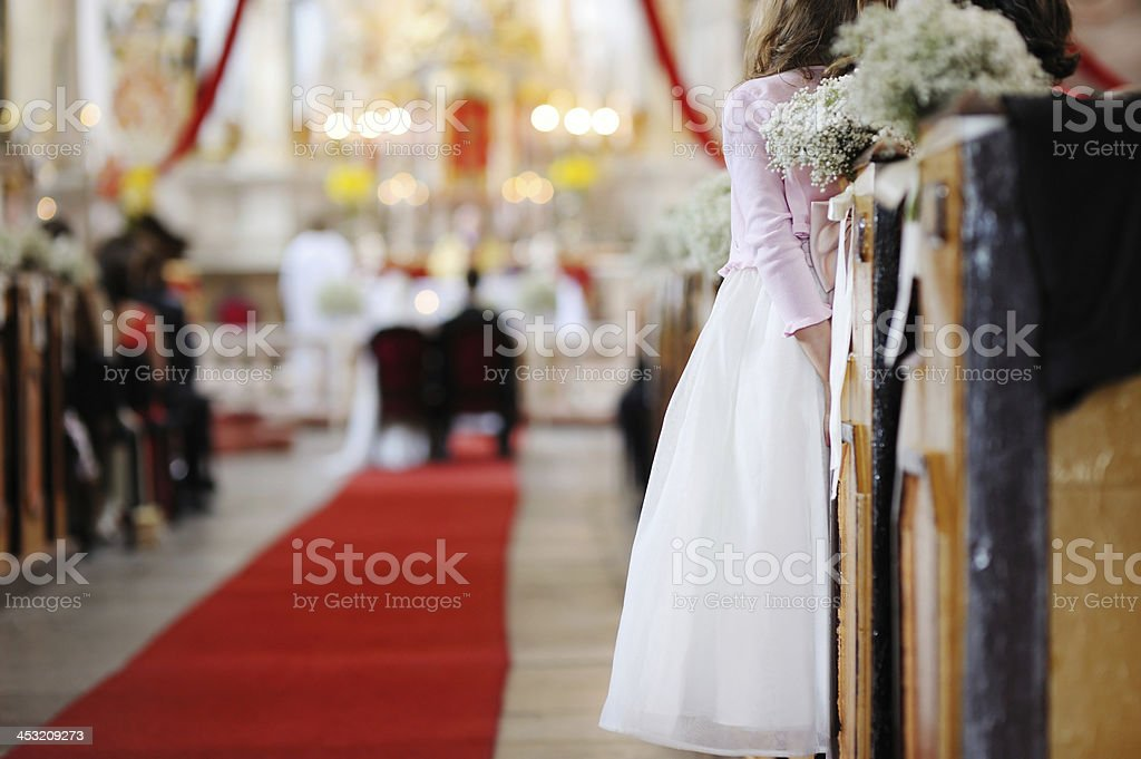 Girl watching a wedding ceremony royalty-free stock photo