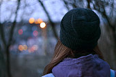 girl watching at the city lights