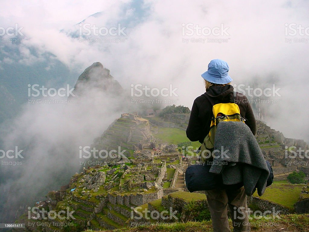 girl watching Machu Pichu stock photo