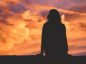Girl watching the sky.