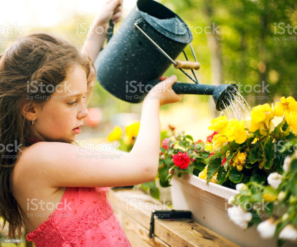 girl watering the flowers royalty-free stock photo