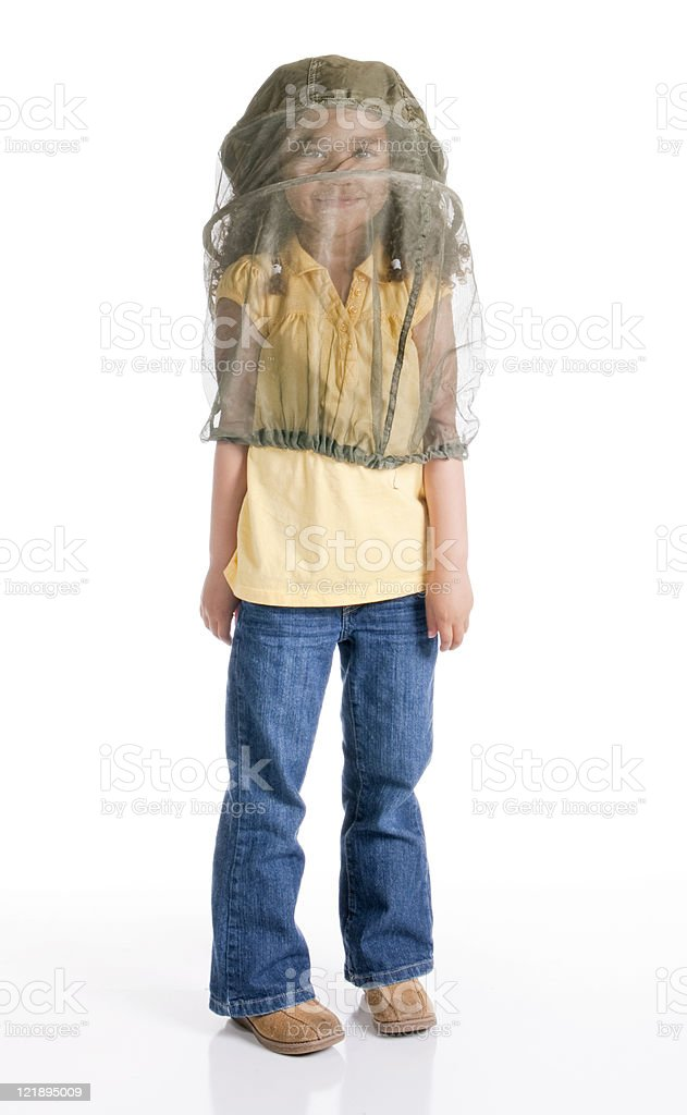 Girl Wearing a Jungle Hat on White Background royalty-free stock photo