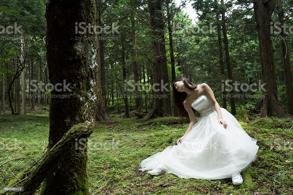 Girl wearing a wedding dress, such as the fairy. stock photo