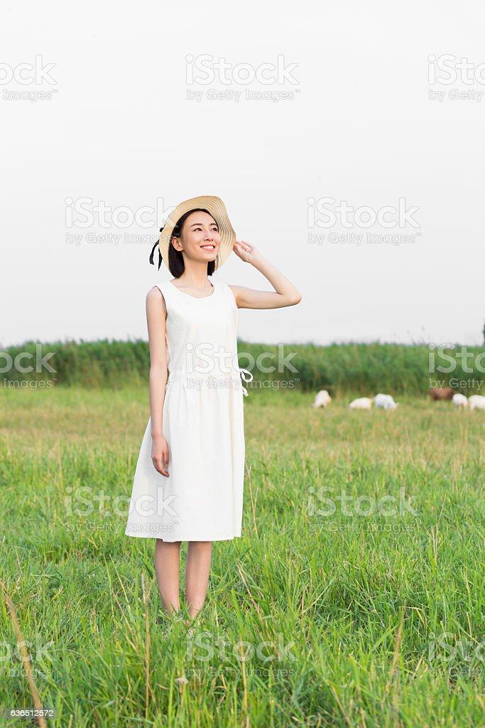 girl wearing a white dress stock photo