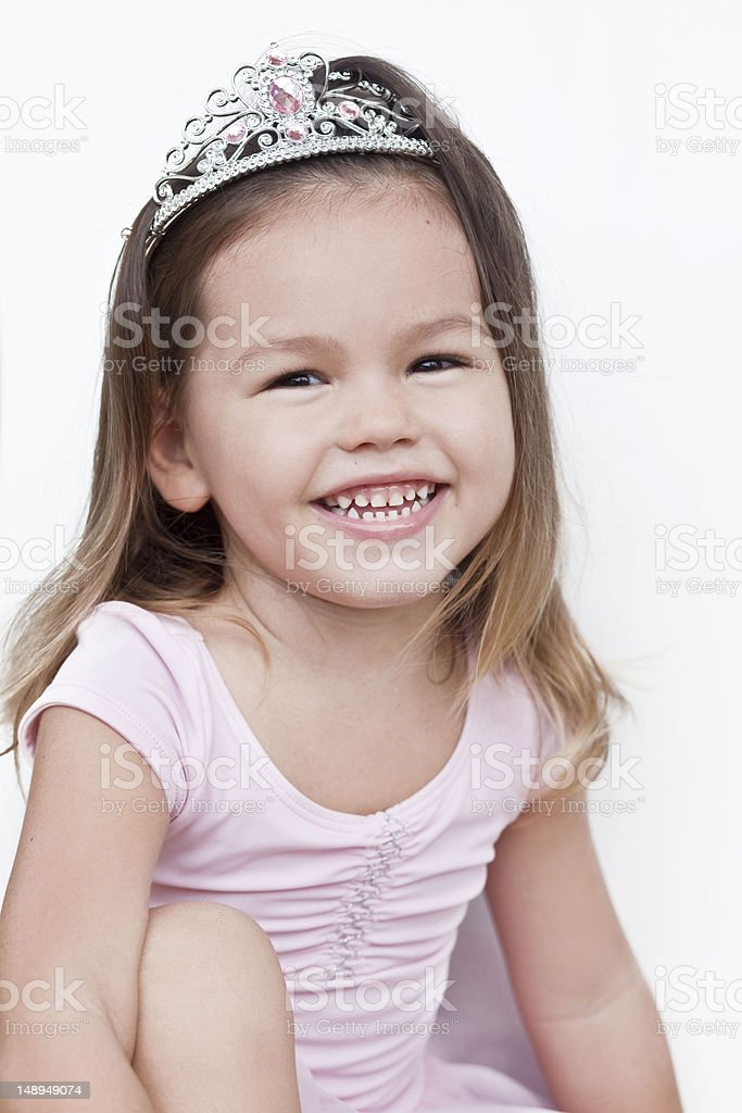 Girl wearing diamond tiara stock photo