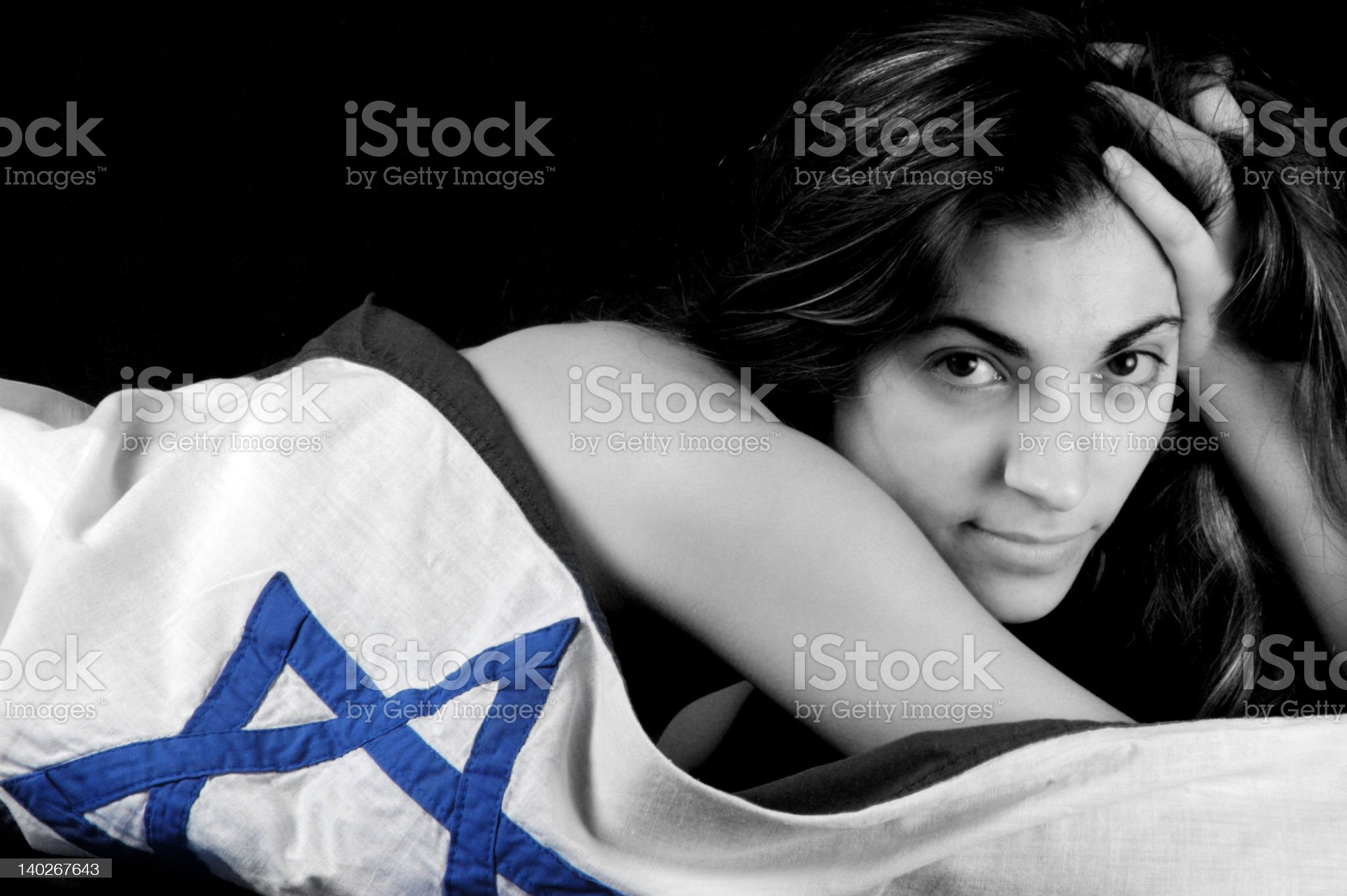 Girl wearing Israel flag #9 royalty-free stock photo