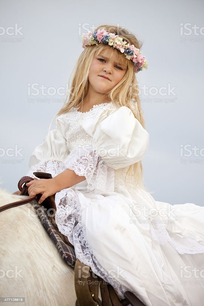 Girl Wearing Long White Dress Riding Horse royalty-free stock photo