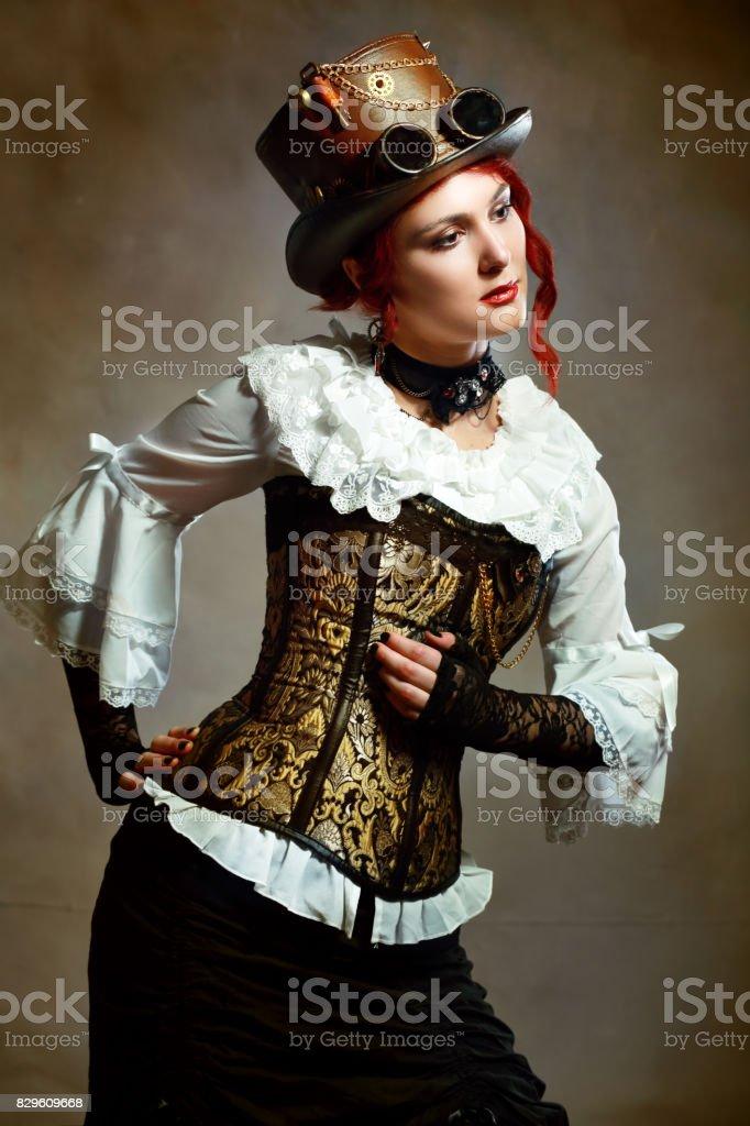 Girl Wearing Steampunk Hat stock photo