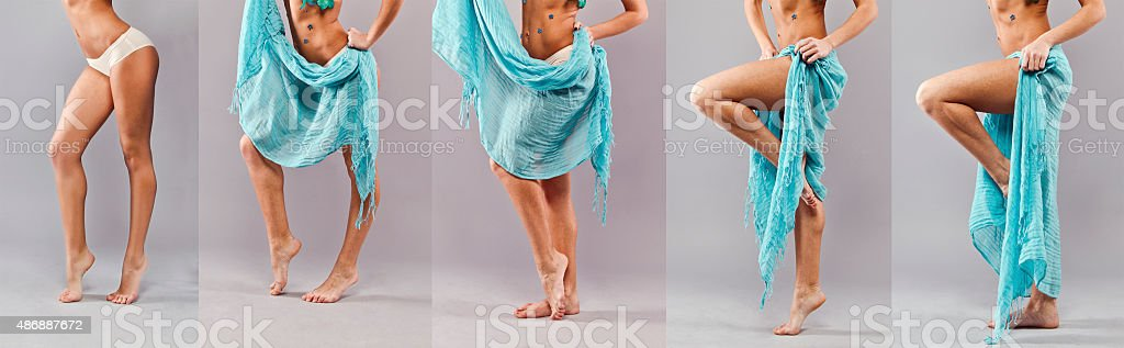 Girl wears a skirt. royalty-free stock photo