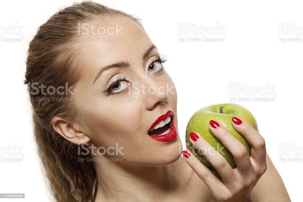 Girl whith apple stock photo