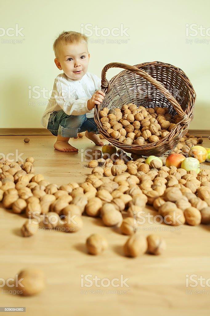 Girl whith walnut stock photo