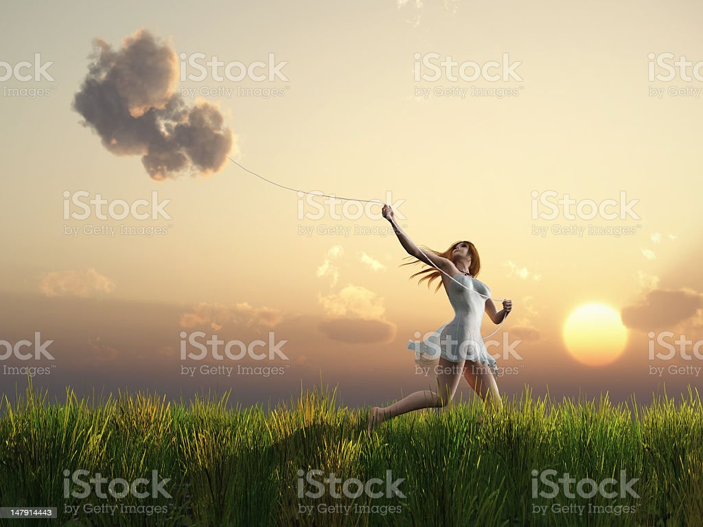 girl who catches clouds royalty-free stock photo