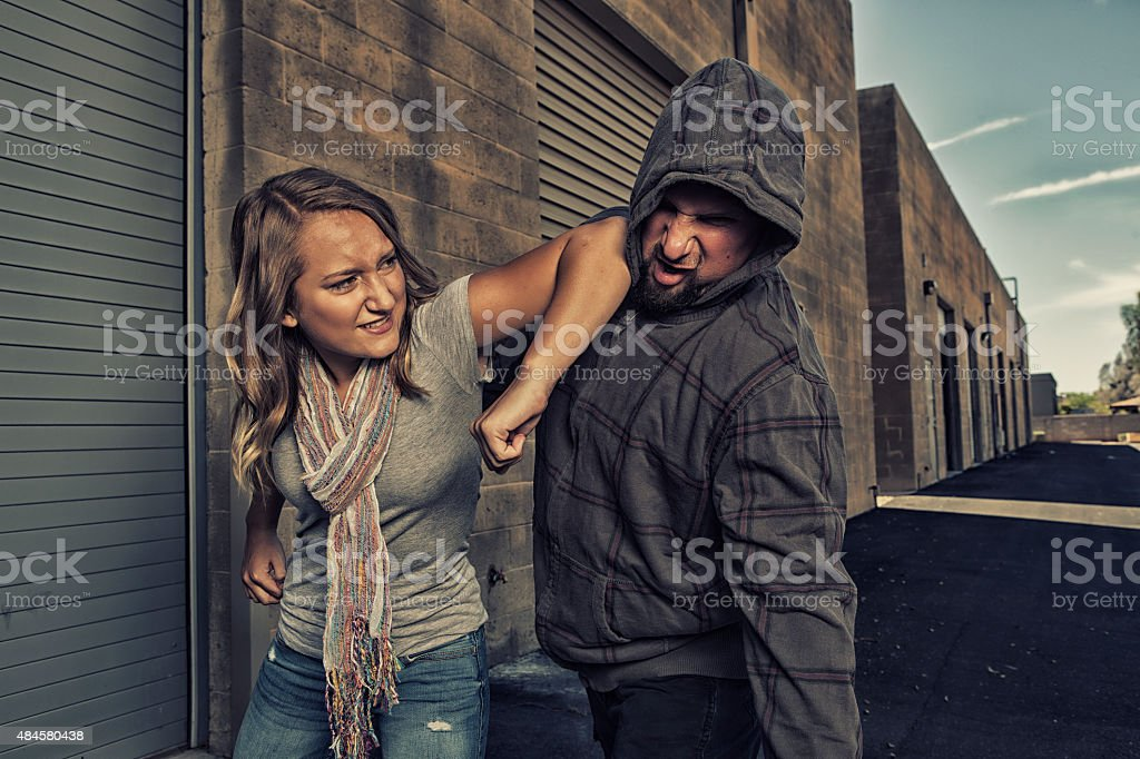 Girl who knows self defense. stock photo