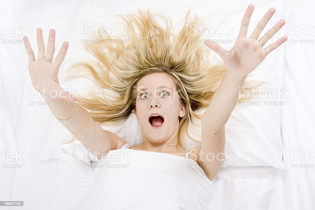 Girl wide awake stock photo