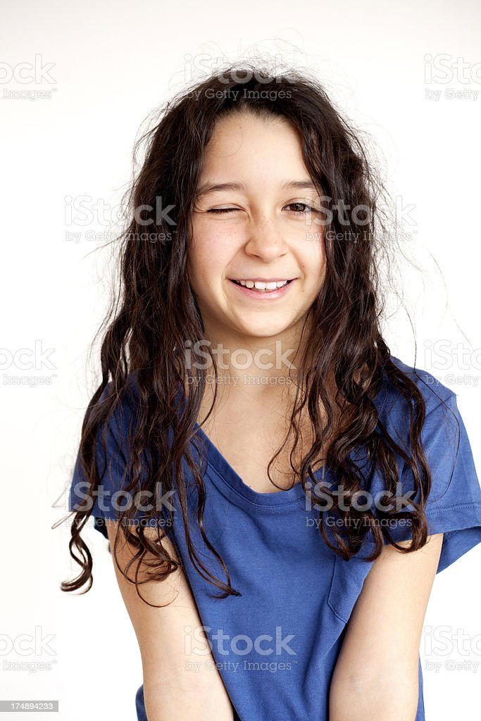 girl winking royalty-free stock photo