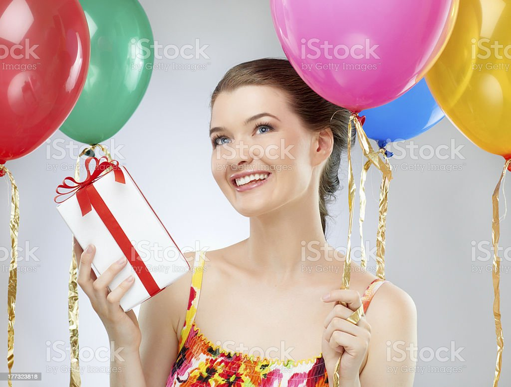 girl wit balloons royalty-free stock photo