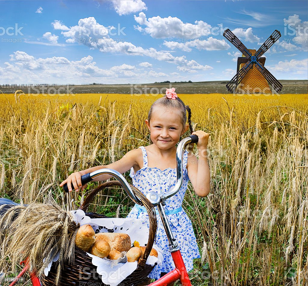 Girl with a bicycle with a basket of bread. stock photo