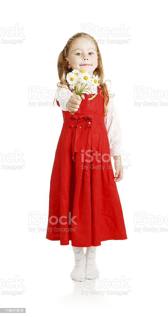 Girl with a bouquet of colors royalty-free stock photo