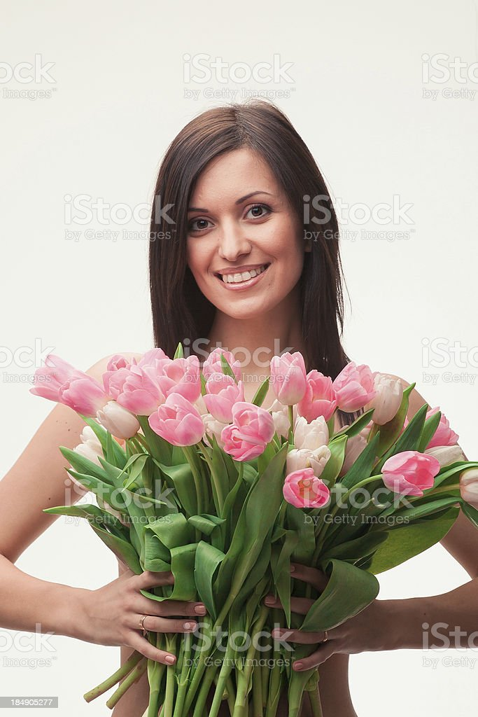 Mädchen mit einem Strauß Lizenzfreies stock-foto