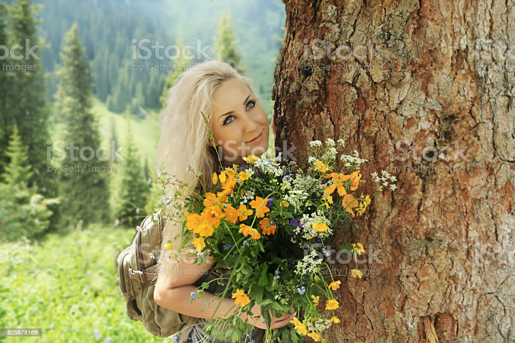 girl with a bouquet stock photo