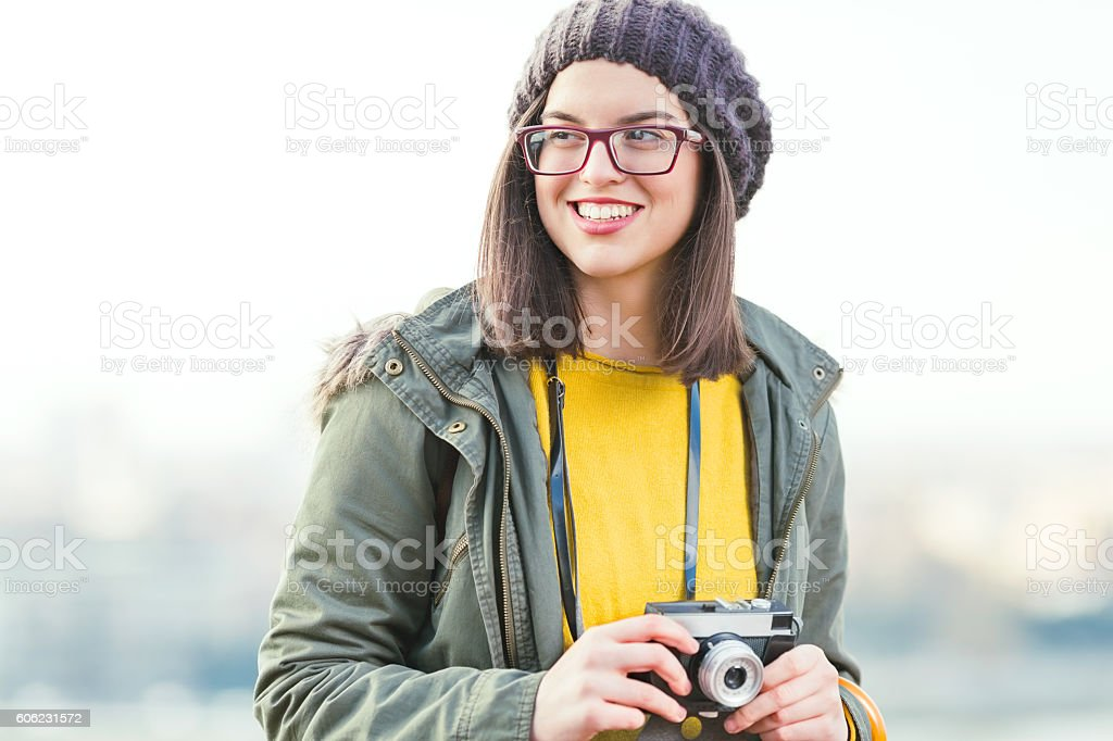 Girl with a Camera stock photo