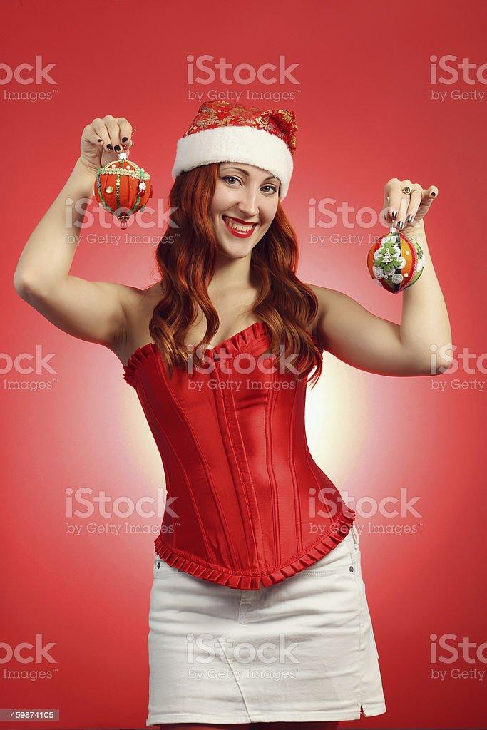 Mädchen mit Weihnachten Spielzeug Lizenzfreies stock-foto