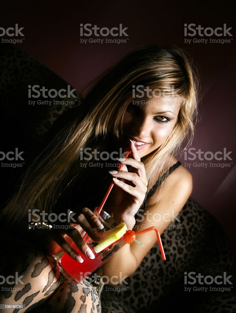 Girl with a cocktail royalty-free stock photo