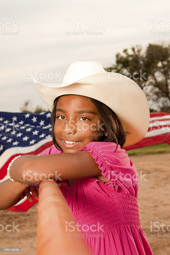 Girl with a cowgirl hat royalty-free stock photo