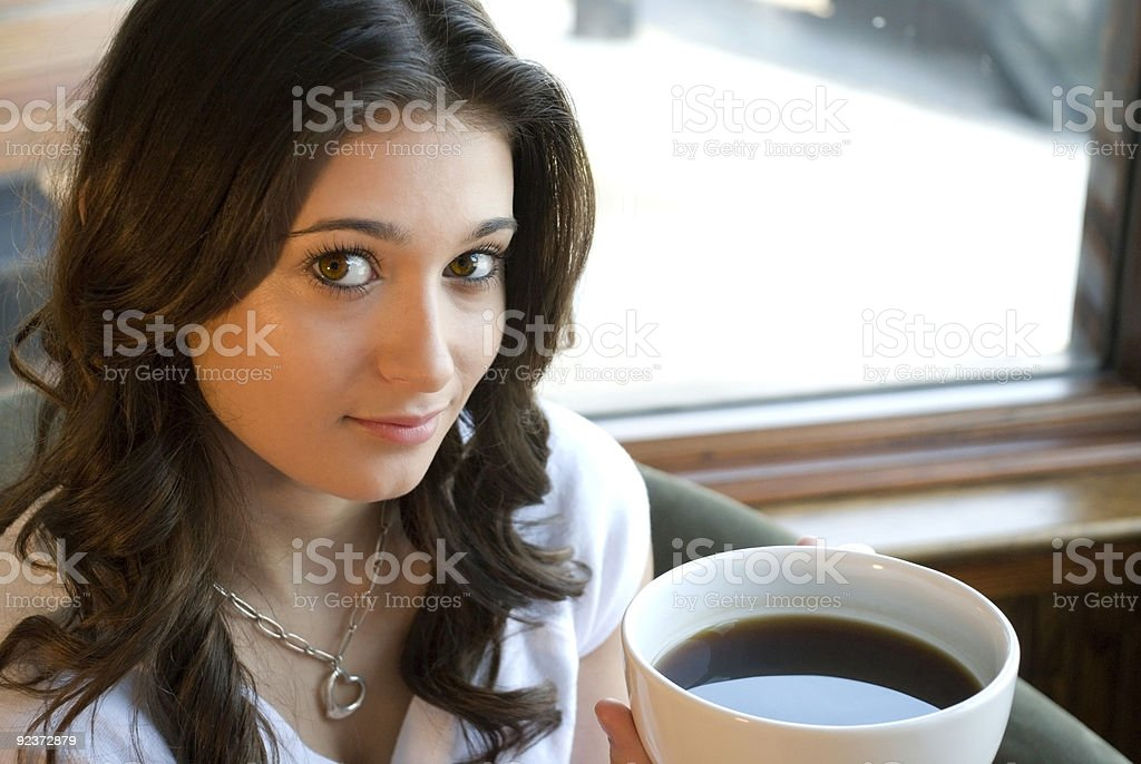 Girl with a Cup of Coffee royalty-free stock photo