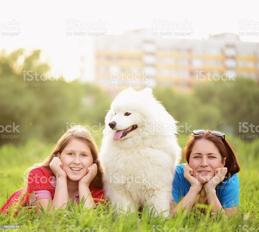 girl with a dog in the park royalty-free stock photo