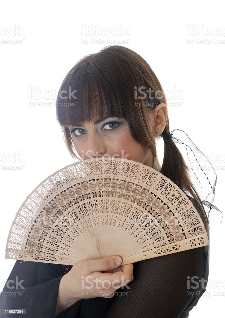 girl with a fan stock photo