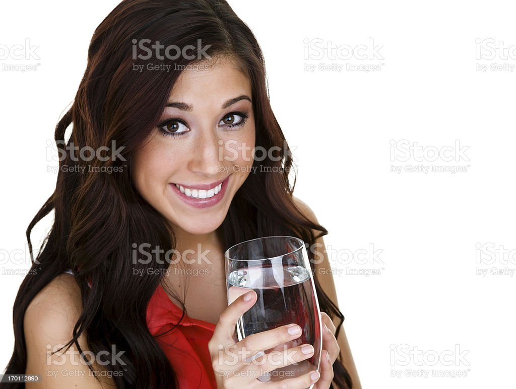Girl with a glass of water royalty-free stock photo