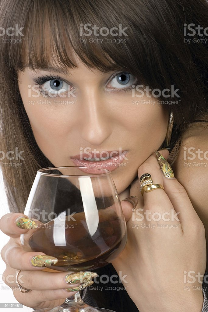 Girl with a glass royalty-free stock photo