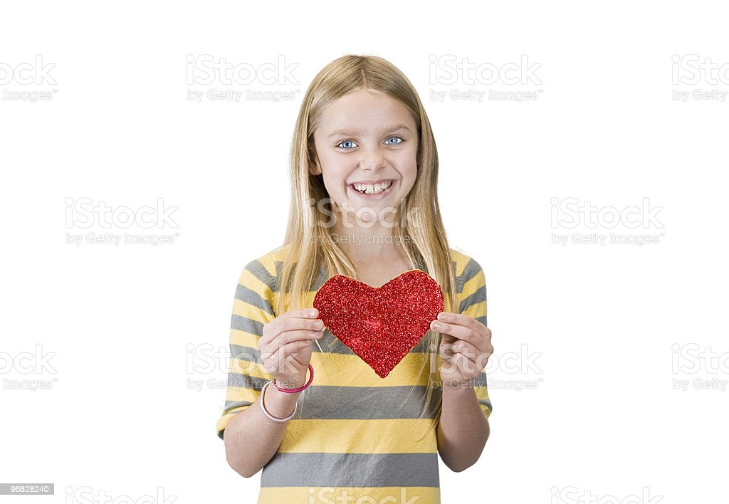 girl with a glitter heart royalty-free stock photo