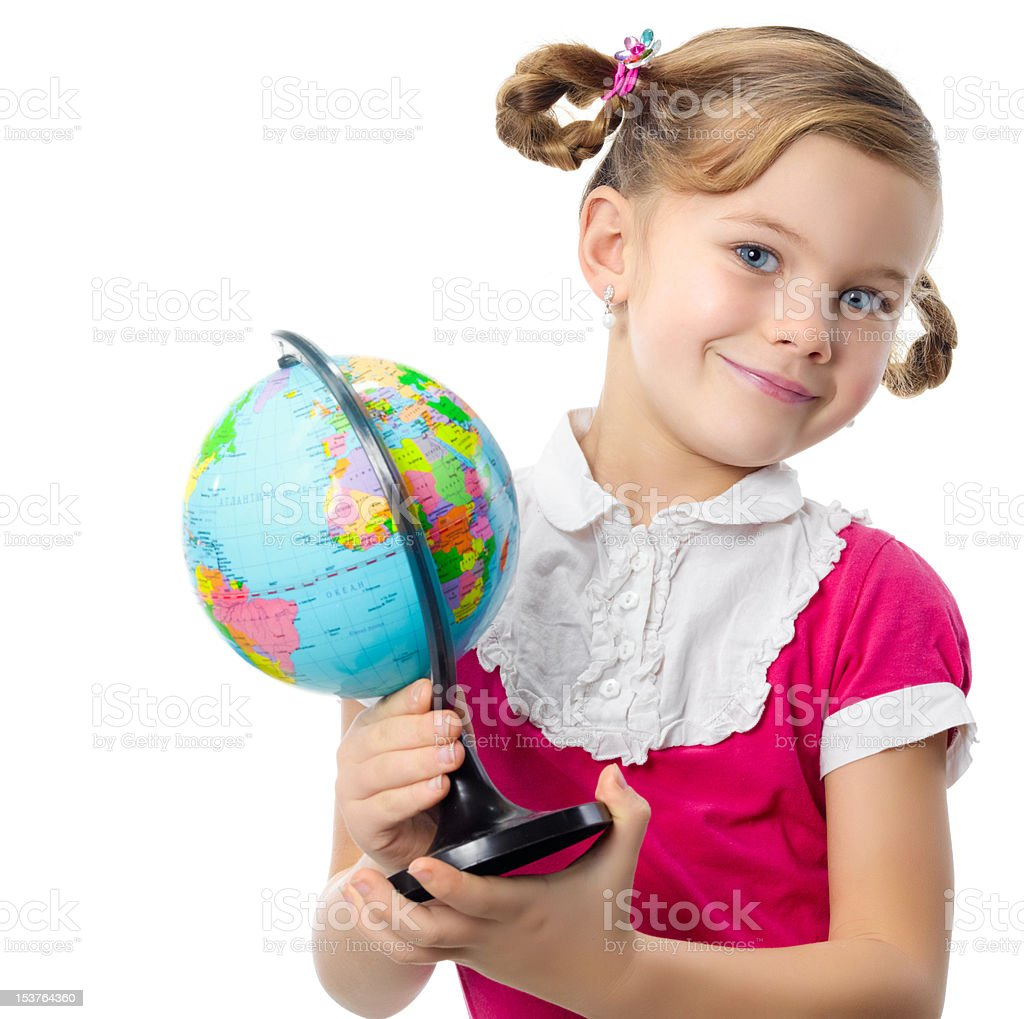 girl with a globe royalty-free stock photo