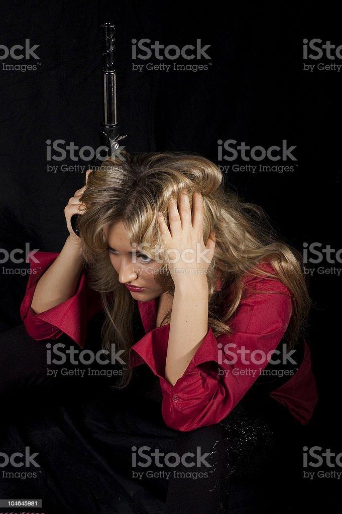 girl  with a gun stock photo