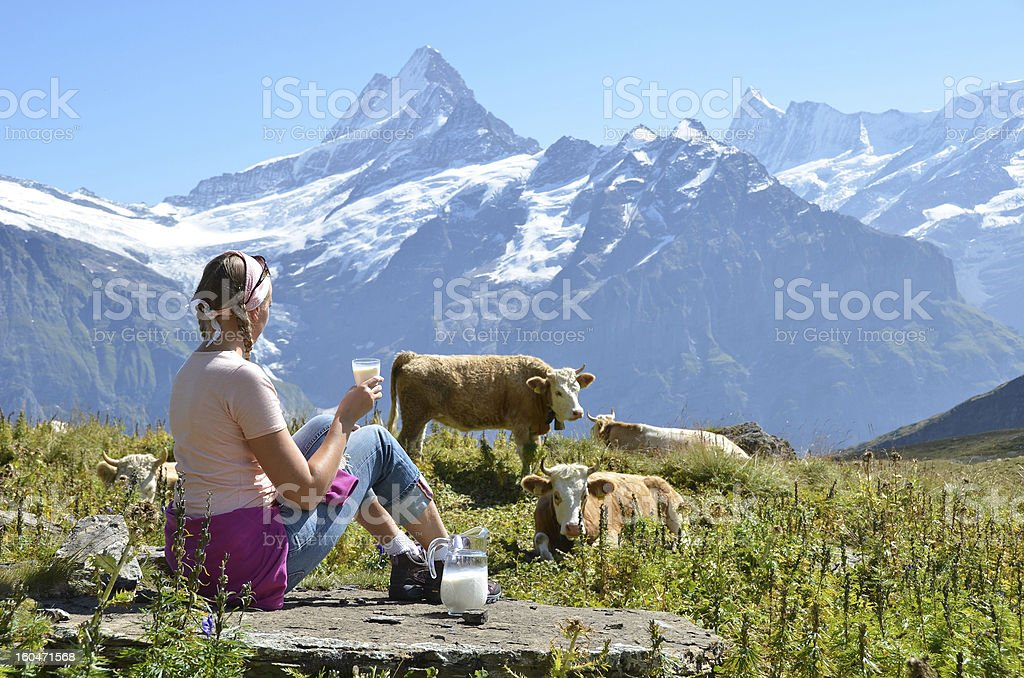 Girl with a jug of milk royalty-free stock photo
