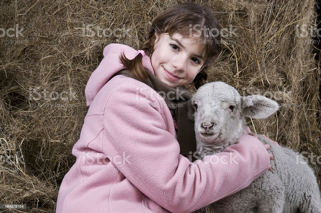 Girl with a lamb close stock photo