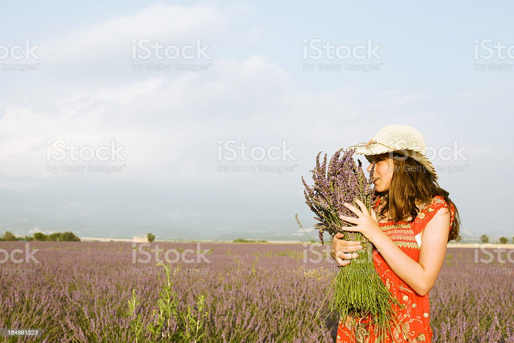 Girl with a lavender bouquet royalty-free stock photo