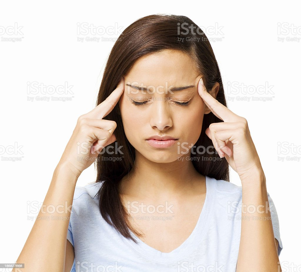 Girl With a Migraine - Isolated stock photo