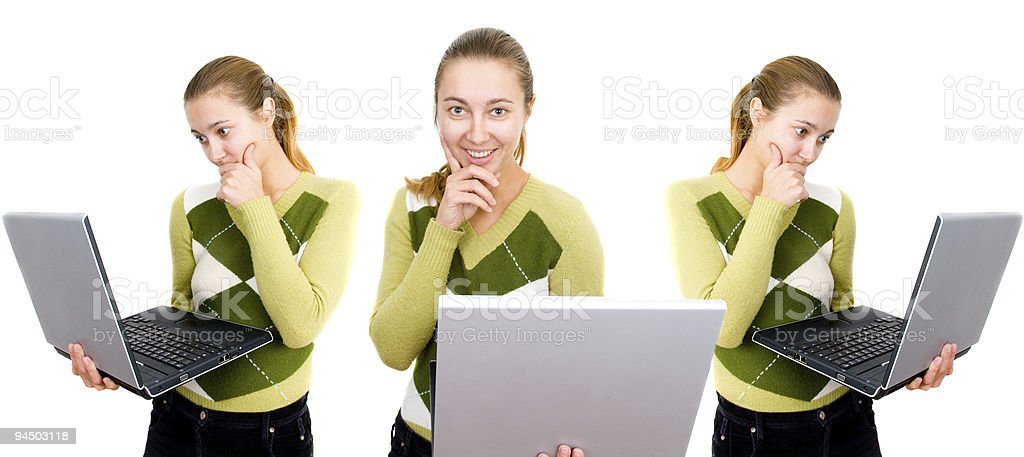 girl with a notebook stock photo