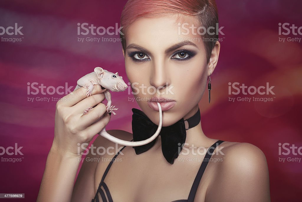 Girl with a rat. royalty-free stock photo