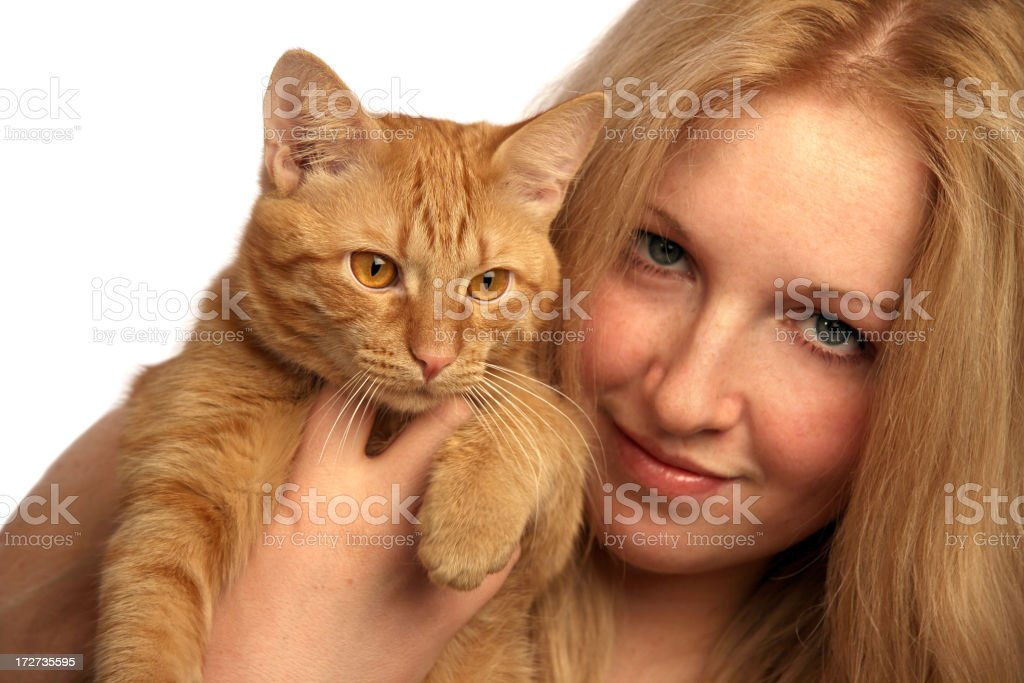 Girl with a red cat royalty-free stock photo
