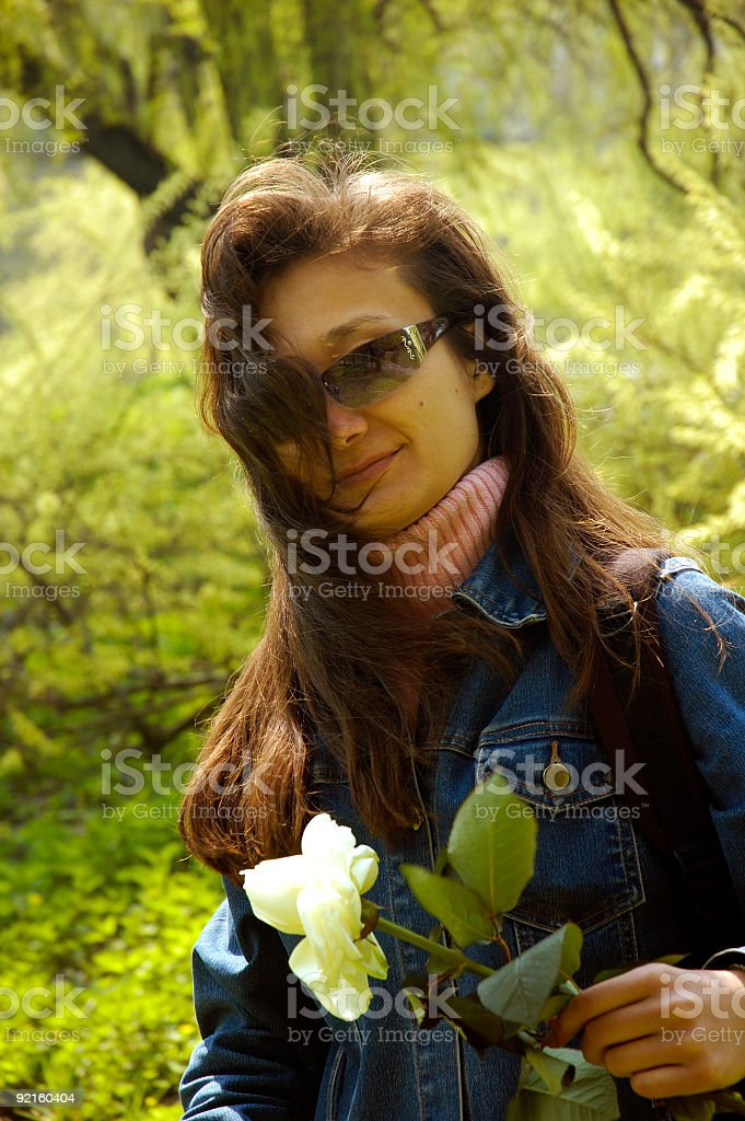 Girl with a rose hiking royalty-free stock photo