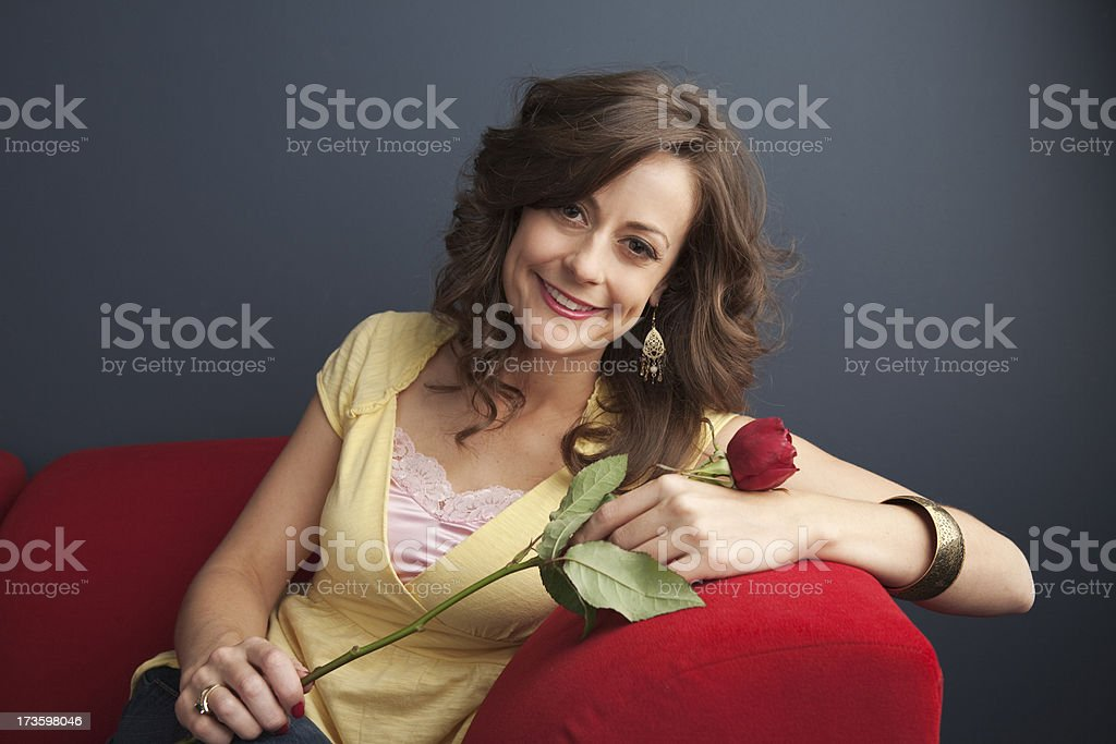 Girl with a Rose stock photo