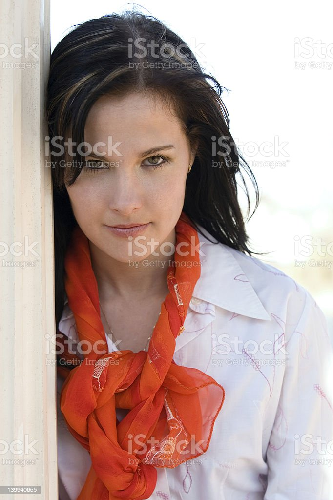 Girl with a scarf royalty-free stock photo
