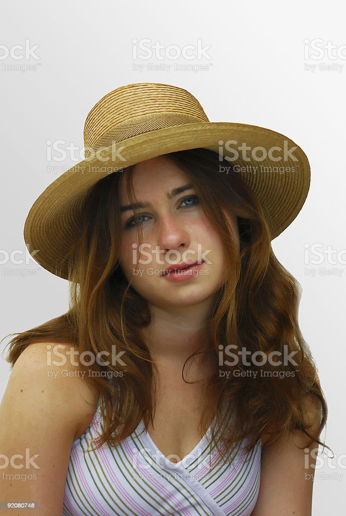 Girl with a straw hat royalty-free stock photo
