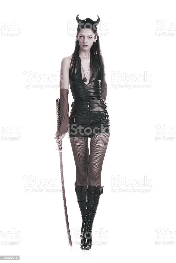 Girl with a sword royalty-free stock photo