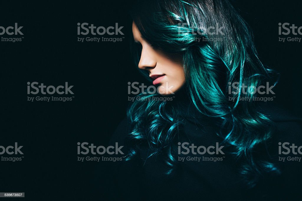 Girl with a turquise hair stock photo
